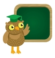 cute owl with school board vector image vector image