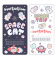 cute space flyer invitation banner template vector image