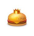 delicious burger with crown vector image vector image