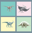 dinosaurs skeletons silhouettes cards set fossil vector image vector image
