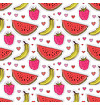 doodle seamless pattern with fruits banana vector image