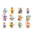 fantasy set rpg game heroes character icons vector image