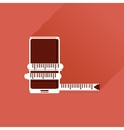 Flat web icon with long shadow mobile diet vector image vector image