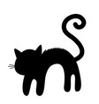 frightened cat arch back silhouette screaming vector image