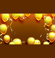 glossy golden balloons and confetti poster vector image