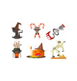 halloween icons set black cat in a witch hat vector image vector image