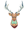 hand drawn horned deer with high details vector image