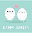 happy easter egg couple family kawaii face love vector image