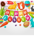 Happy Easter greeting card with decorative objects vector image vector image