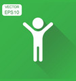 happy man with hands up icon business concept vector image vector image