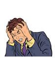 headache man stress or illness vector image vector image