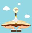 light bulb as a rocket flies into the sky vector image vector image