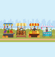 local street food market flat vector image vector image