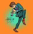 man playing folk wind instrument vector image vector image