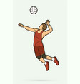 man volleyball player jumping action cartoon vector image