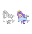mermaid floating with dolphin friendship vector image vector image