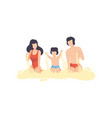 mom dad and son playing on sandy beach happy vector image vector image