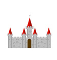 Old brick castle with red towers in vector image