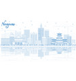 outline nagano japan city skyline with blue vector image vector image