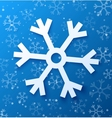 Paper abstract snowflake on blue background vector image