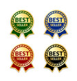 ribbons award best seller set gold ribbon award vector image