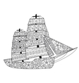 Sailing boat coloring for adults vector image vector image