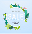 sale banner with leaf poster flyer vector image vector image