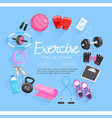 set of exercises equipment vector image