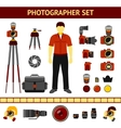 Set of Photographer icons - cameras tripod vector image vector image