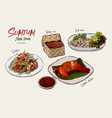 somtum collection thai food hand draw sketch vector image