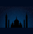 starry sky with blue glow silhouette of mosque vector image