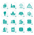 stylized power energy and electricity icons vector image vector image