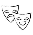 theater masks isolated icon vector image vector image