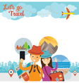 Tourist Traveler Selfie with Smartphone Frame vector image vector image