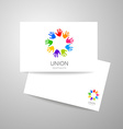 union hands teamwork logo template vector image vector image