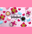 valentines day 3d pink love layout greeting card vector image