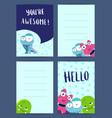 vertical note cards set with pozitive vector image vector image
