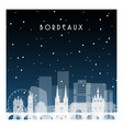 winter night in bordeaux night city in flat style vector image vector image