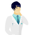young asian doctor thinking vector image vector image