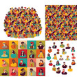 big group young happy casual people faces set vector image