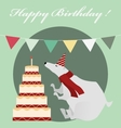 Vintage Birthday card with white bear and cake vector image