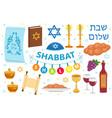 shabbat shalom icon set flat cartoon style vector image