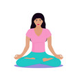 a young girl sits in a lotus position woman is vector image vector image