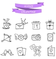 art valentine icons with hand draw vector image vector image