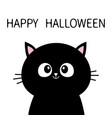 black cat sitting silhouette happy halloween cute vector image