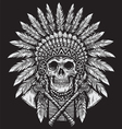 Bold Native American Skull Chief vector image vector image