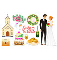 bride and groom wedding ceremony set newlyweds vector image vector image