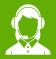 business woman with headset icon green vector image vector image