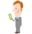 businessman cartoon character with phone vector image vector image