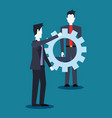 businessmen team with gears collaboration work vector image